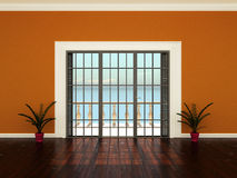 Empty interior room with windows to the terrace Stock Photos