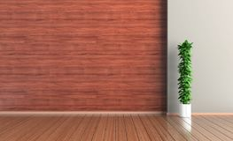 Empty interior room, wood wall and floor, plant, 3d rendering stock illustration