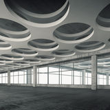 Empty interior with round holes ceiling pattern, 3d. Empty concrete interior background with round holes ceiling pattern, 3d illustration Royalty Free Stock Photography