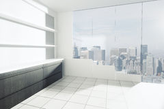 Empty interior with shelves. And counters, tile floor and city view. 3D Rendering Stock Photography