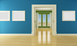 Empty interior with sliding door and window Royalty Free Stock Image