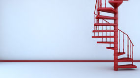Empty interior with spiral staircase. 3d illustration Stock Photo