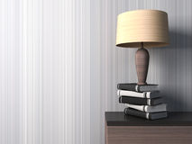 Empty interior with vases and lamp. 3d illustration Royalty Free Stock Photography