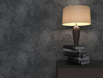Empty interior with vases and lamp. 3d illustration Stock Photo
