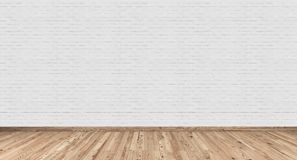 Empty interior with white brick wall and wood floor. 3D Rendering Royalty Free Stock Image