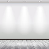 Empty interior with white wall and lights vector. Empty interior with white wall and spotlights vector background Royalty Free Stock Photos