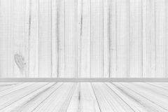 Empty interior wood room white wooden wall and floor, For display Stock Photo