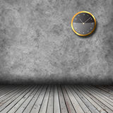 Empty interior with grunge wall and clocks Stock Photo