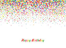 An empty invitation to a holiday in a heap of colorful confetti. Stock Photos