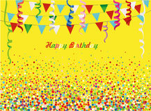 An empty invitation to a holiday in a heap of colorful confetti. Stock Images