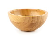 Empty isolated bamboo bowl Stock Photos