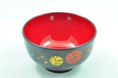 Empty Japanese Red Dot Black Bowl Stock Photos