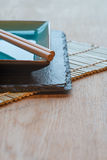 Empty Japanese sushi serving platter with chopsticks Stock Image