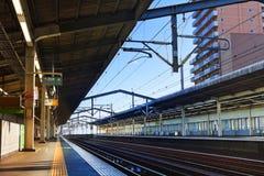 Empty Japanese train platform Royalty Free Stock Photo