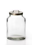 Empty Jar. Clear glass container with stainless steel cover