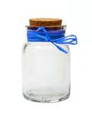 Empty jar with blue ribbon Stock Photo