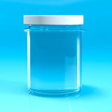 Empty jar glass isolated. On blu background Royalty Free Stock Photos