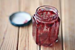 Empty jar of jam like blood Stock Photo