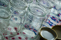 empty jars of homemade preserves Royalty Free Stock Image