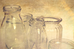 Empty Jars. With Texture Overlay Royalty Free Stock Photography