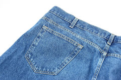 Empty Jean Pocket. A back pocket on a pair of denim blue jeans Royalty Free Stock Photography