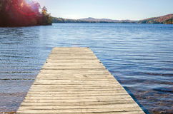 Empty Jetty on a Mountain Lake and Clear Sky Royalty Free Stock Image