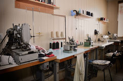 Empty jobs and equipment in the sewing workshop. general view. h Stock Image