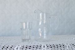 Empty Jug and Glass stock image