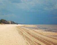 Empty Jurmala beach out of season - toned photo. Royalty Free Stock Photo