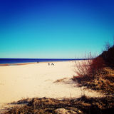 Empty Jurmala beach out of season - vintage photo. Spring seascape and bare bushes. Stock Photo