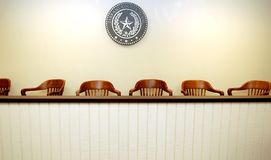 Empty jury area. An empty jury area in a courtroom Royalty Free Stock Photography