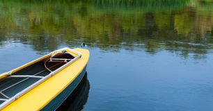 Empty kayak without tourist on river. Stock Photos