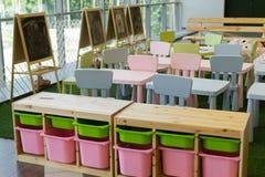 Empty Kids Kindergarten and Chairs Stock Photos