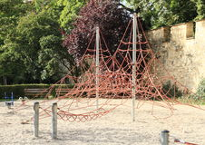Empty kids playground. With net jungle gym Royalty Free Stock Images
