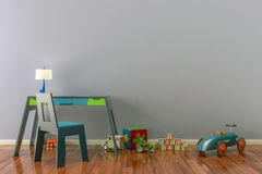 Empty kids room with toys, work desk and chair. 3D illustration Stock Photo