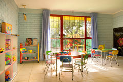 Empty kindergarten classroom. In Chile Royalty Free Stock Photos