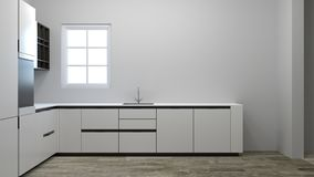 Empty kitchen cabinet waiting for decoration 3d illustration new house waiting for the owner,furniture,shelves,modern home designs