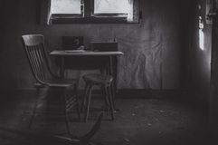 Lonely Kitchen Table and Chair royalty free stock image