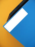 Empty Label on Blue Folder. A blue folder sitting on an office tray. Add your own word on the white label royalty free stock photo