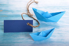 Empty Label with Boats Royalty Free Stock Image