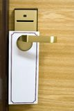 Empty label on a door handle Royalty Free Stock Photos