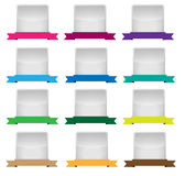 Empty label set with cored ribbons. Design of a collection of  empty labels with  multicolored ribbons Stock Images