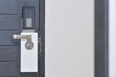 Empty lable over a knob door Royalty Free Stock Photo