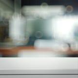 Empty laminate shelf and blurred  background Stock Photo