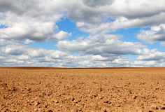 Empty land under cloudy sky Royalty Free Stock Images