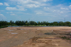 Empty land used for construction building and sale with beautiful sky Royalty Free Stock Image