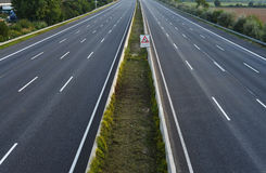 Empty 8-lane-highway. Complete closed 8-lane-highway due to roadworks Royalty Free Stock Photos