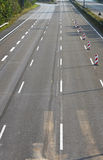 Empty 8-lane highway due to road and bridge works Royalty Free Stock Image