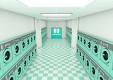 Empty Laundromat Clean. A look down a well lit clean aisle of turquoise industrial washing machines in a laundromat - 3D render Stock Photo