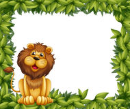 An empty leafy frame with a lion Royalty Free Stock Image